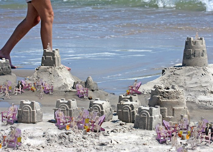 Sandcastle Greeting Card featuring the digital art Castle Kingdom by Betsy Knapp
