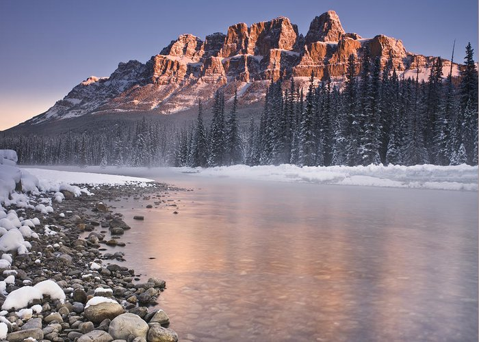 Castle Mountain Greeting Card featuring the photograph Castle Mountain And The Bow River by Richard Berry