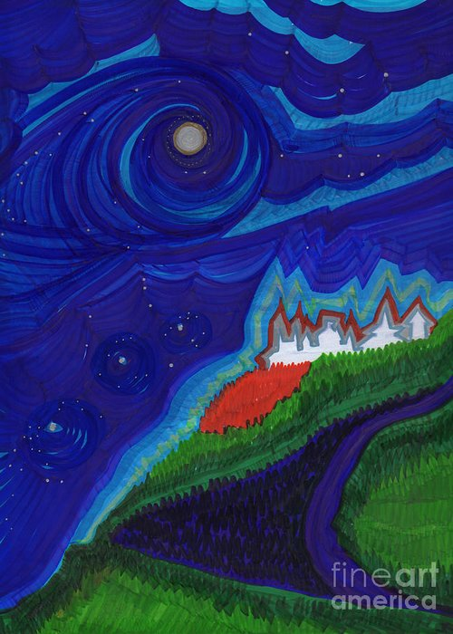 First Star Art Greeting Card featuring the drawing Castle On The Cliff By Jrr by First Star Art