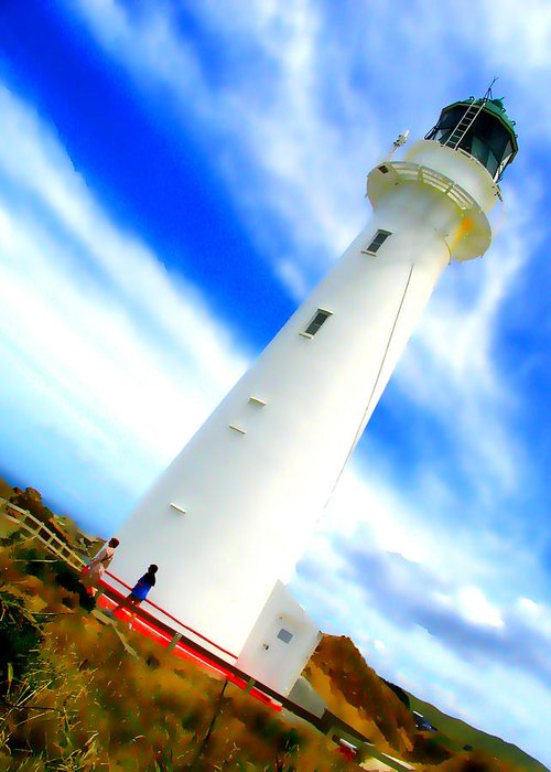 Lighthouse Greeting Card featuring the photograph Castle Point Lighthouse by Amber Nissen