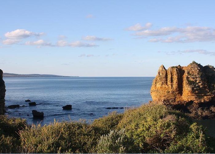Coast Cliffs Greeting Card featuring the photograph Castle Rock by Amanda Holmes Tzafrir