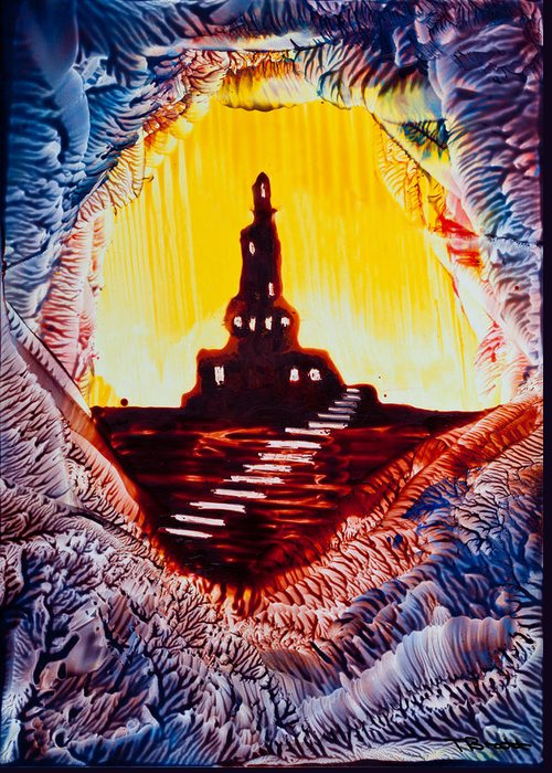 Castle Greeting Card featuring the painting Castle Rock Silhouette Painting In Wax by Tisha Art