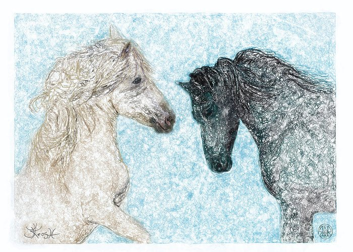 Horse Greeting Card featuring the painting Castor And Pollux by Jerry Kool
