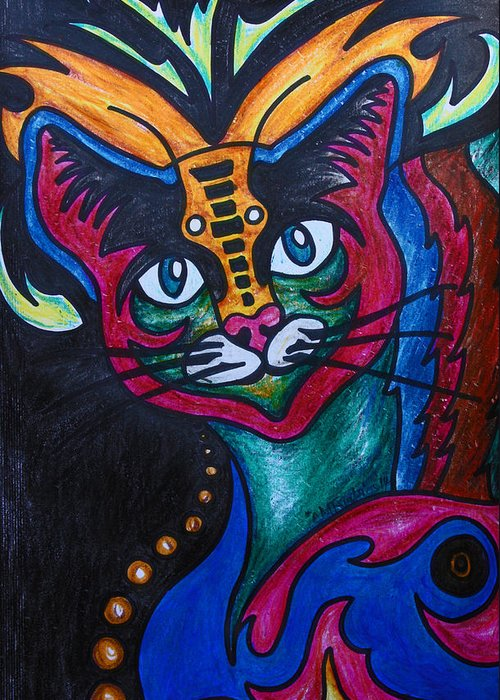 Cat Greeting Card featuring the drawing Cat 2 by Carol Tsiatsios
