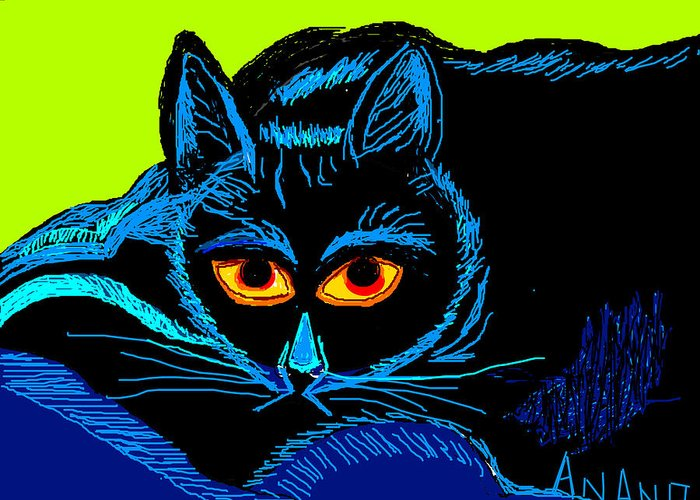 Cat-3 Greeting Card featuring the digital art Cat-3 by Anand Swaroop Manchiraju