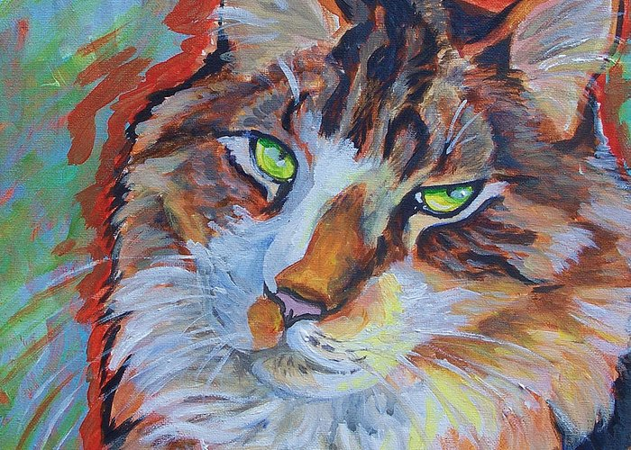 Cat Greeting Card featuring the painting Cat Commission by Jenn Cunningham
