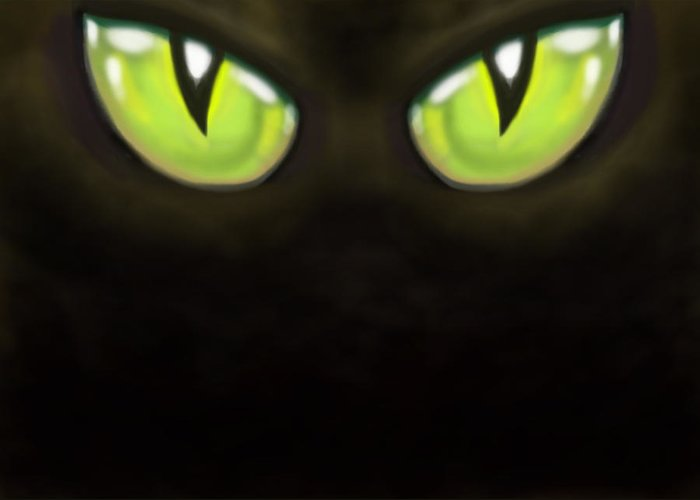 Eye Greeting Card featuring the digital art Cat Eyes by Kevin Middleton