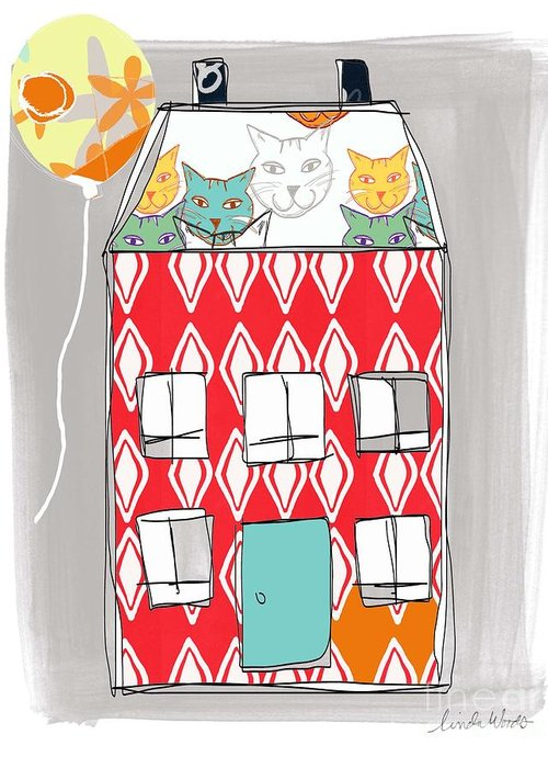 Cat Greeting Card featuring the painting Cat House by Linda Woods