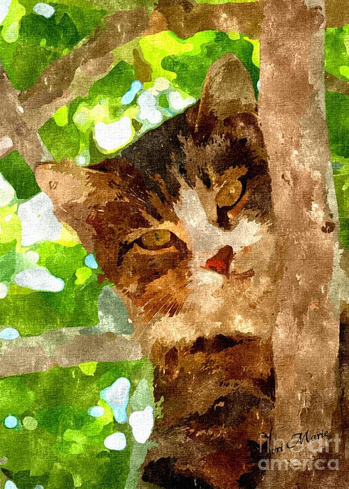 Cat Greeting Card featuring the mixed media Cat In A Tree by Dori Marie Art By Design