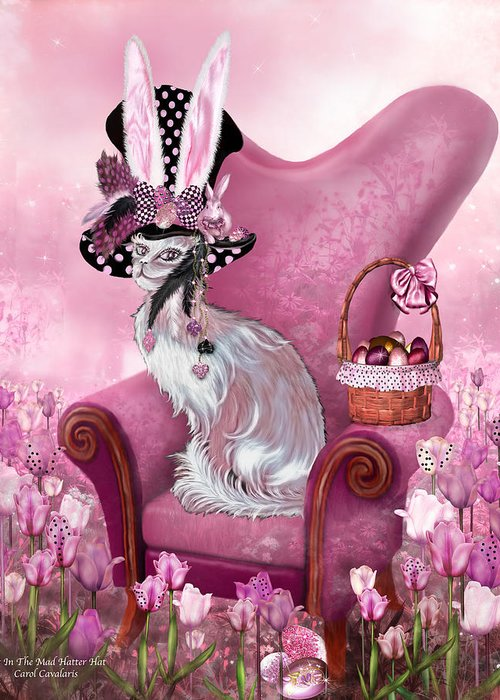Cat Greeting Card featuring the mixed media Cat In Mad Hatter Hat by Carol Cavalaris
