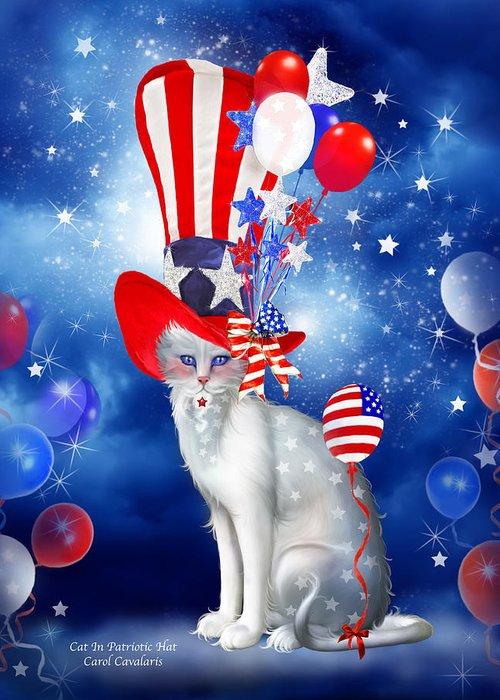 Carol Cavalaris Greeting Card featuring the mixed media Cat In Patriotic Hat by Carol Cavalaris