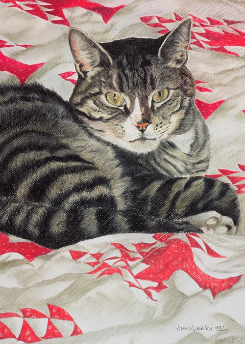 Striped; Stripes; Feline; Portrait; Pet; Relaxing; Relaxed; Grey; Gray; Staring Greeting Card featuring the painting Cat On Quilt by Anne Robinson
