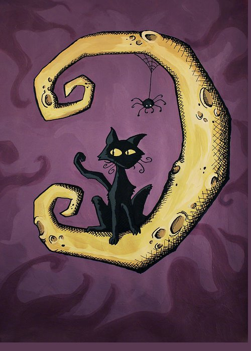 Halloween Greeting Card featuring the painting Cat On The Moon by Sara Coolidge