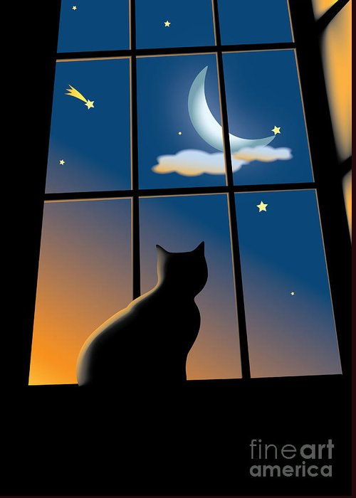 Window Greeting Card featuring the drawing Cat On The Window by Aleksey Tugolukov