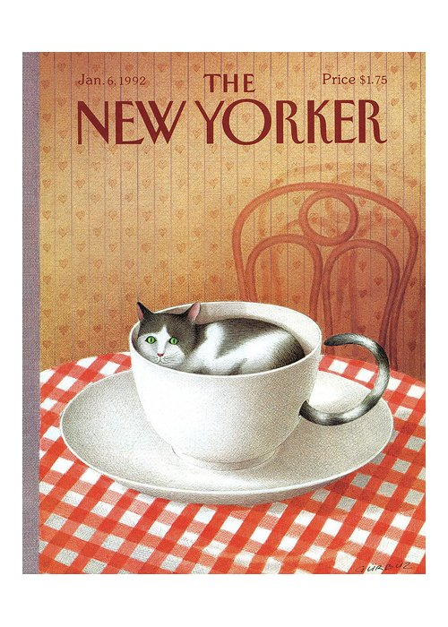 Cat Greeting Card featuring the painting Cat Sits Inside A Coffee Cup by Gurbuz Dogan Eksioglu