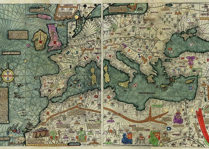 Catalan Atlas Greeting Card featuring the photograph Catalan Atlas by Library Of Congress/science Photo Library