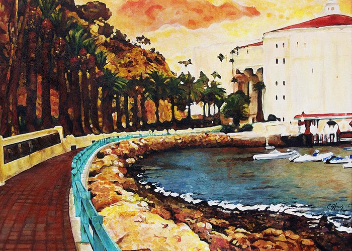 Catalina Island Greeting Card featuring the painting Catalina Island by Carrie Jackson