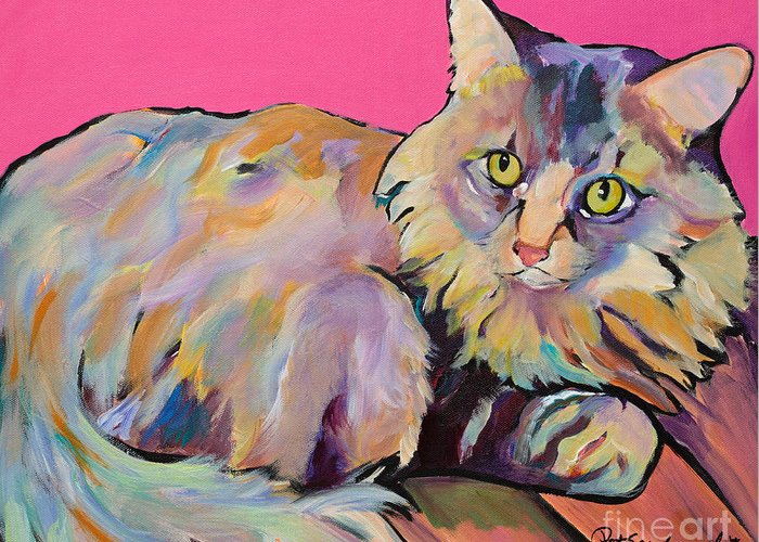 Pat Saunders-white Greeting Card featuring the painting Catatonic by Pat Saunders-White
