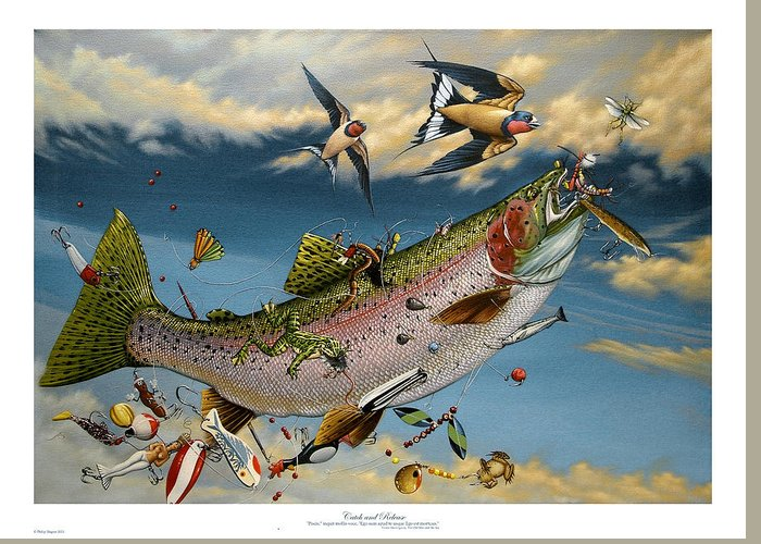 Rainbow Trout Greeting Card featuring the painting Catch And Release by Philip Slagter