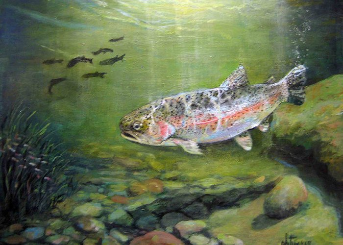 Nature Greeting Card featuring the painting Catch It by Donna Tucker