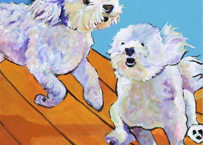 Pat Saunders-white Greeting Card featuring the painting Catch Me   by Pat Saunders-White