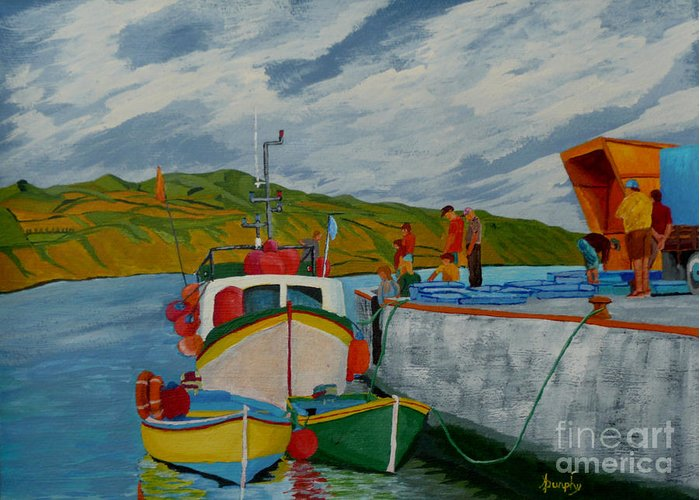 Boats Greeting Card featuring the painting Catch Of The Day by Anthony Dunphy