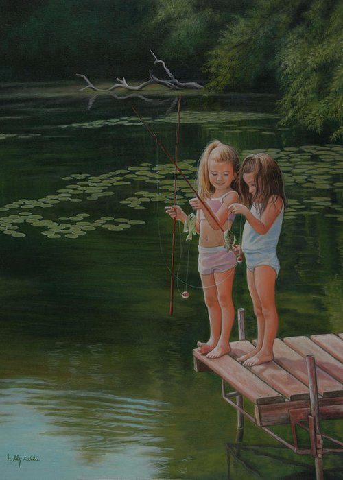Realistic Greeting Card featuring the painting Catch Of The Day by Holly Kallie