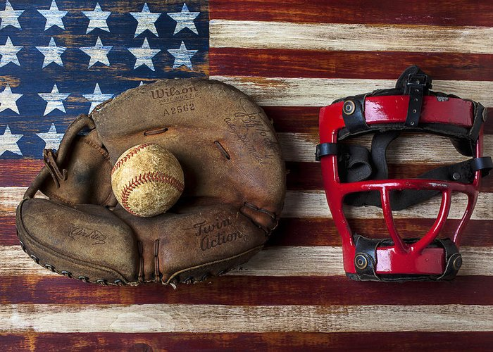 Catchers Glove Greeting Card featuring the photograph Catchers Glove On American Flag by Garry Gay