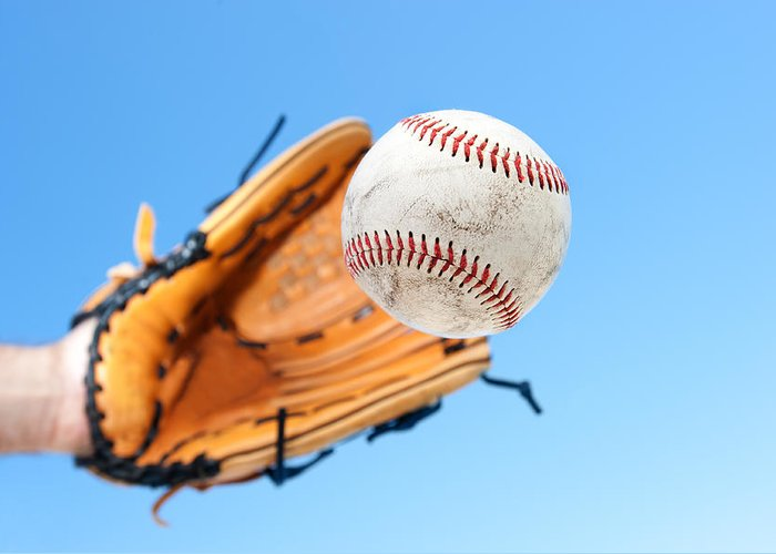 Baseball Greeting Card featuring the photograph Catching A Baseball by Joe Belanger