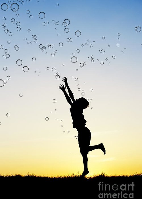 Silhouette Greeting Card featuring the photograph Catching Bubbles by Tim Gainey