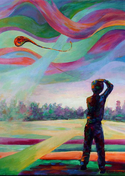 Colorful Greeting Card featuring the painting Catching the Wind by Naomi Gerrard