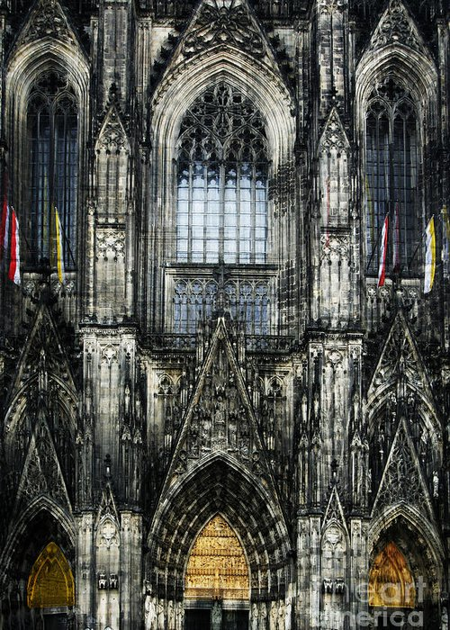 Buildings Greeting Card featuring the digital art Cathederal In Koln by Angelika Drake