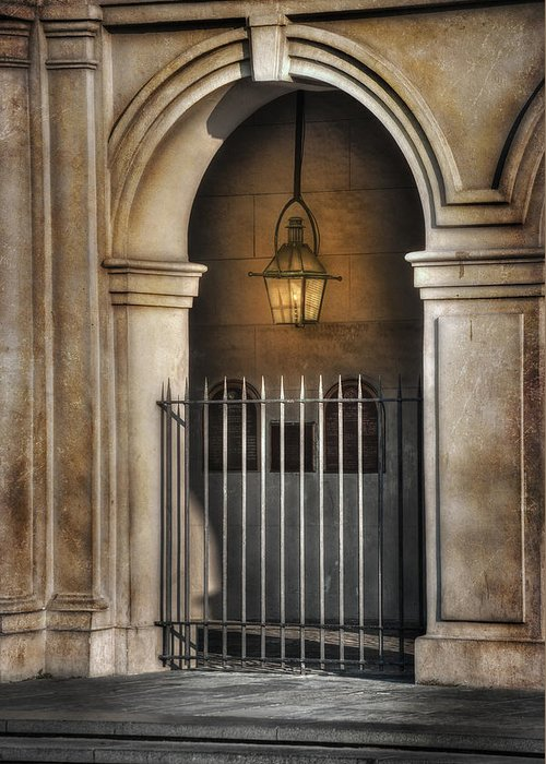 French Quarter Greeting Card featuring the photograph Cathedral Gate by Brenda Bryant