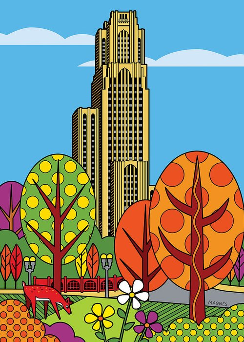 Pittsburgh Greeting Card featuring the digital art Cathedral Of Learning by Ron Magnes