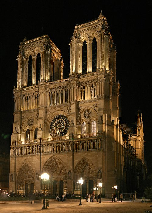 Notre Dam Photographs Greeting Card featuring the photograph Cathedral Of Notre Dam by Gary Lobdell