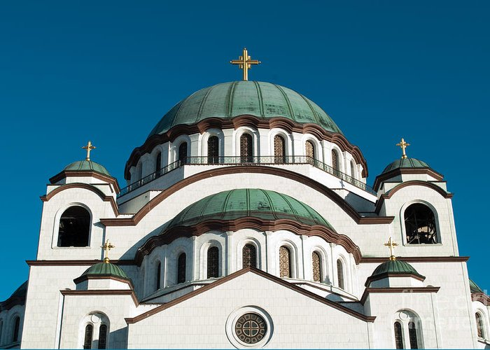 Adornment Greeting Card featuring the photograph Cathedral Of Saint Sava In Belgrade Serbia by Aleksandar Mijatovic
