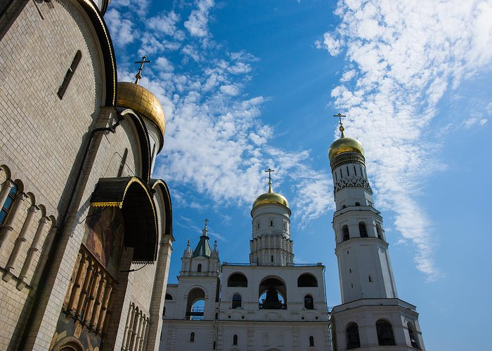 Architecture Greeting Card featuring the photograph Cathedral Of The Dormition And Ivan The Great Belfry Of Moscow Kremlin by Alexander Senin