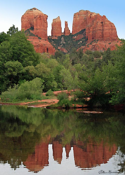 Cathedral Rock Greeting Card featuring the painting Cathedral Rock 1 by Ellen Henneke
