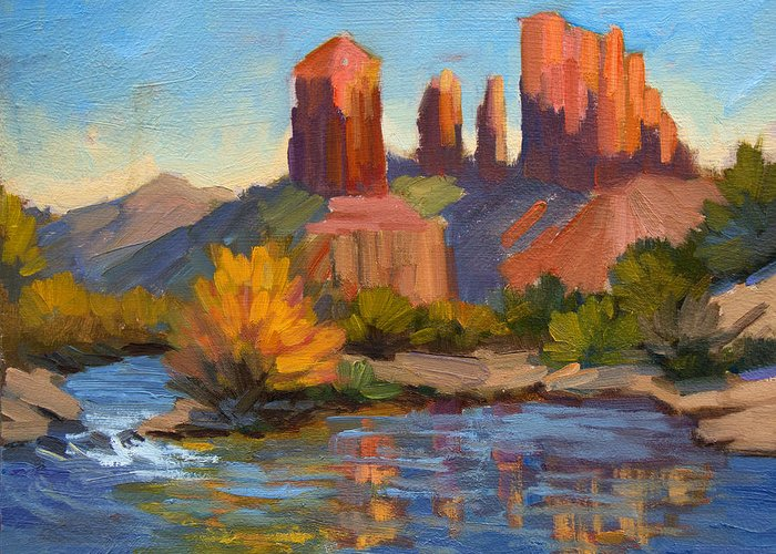 Cathedral Rock Greeting Card featuring the painting Cathedral Rock 2 by Diane McClary
