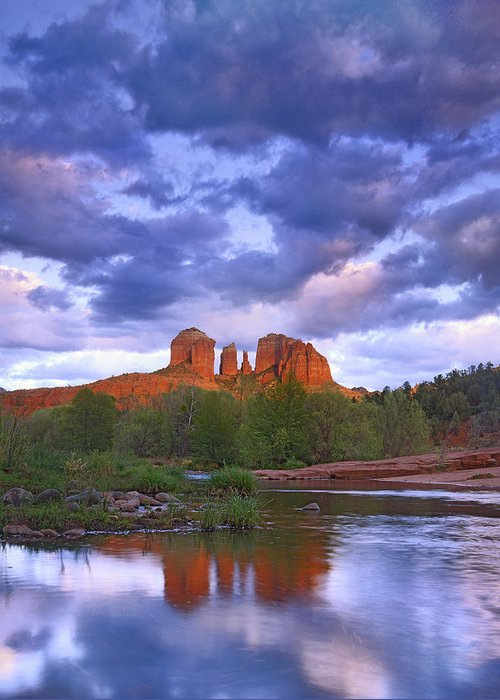 Feb0514 Greeting Card featuring the photograph Cathedral Rock And Oak Creek At Red by Tim Fitzharris
