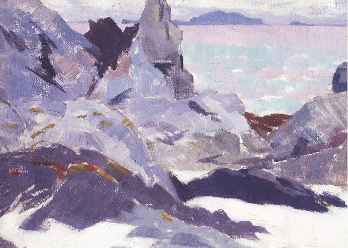 Cadell Greeting Card featuring the painting Cathedral Rock Iona by Francis Campbell Boileau Cadell