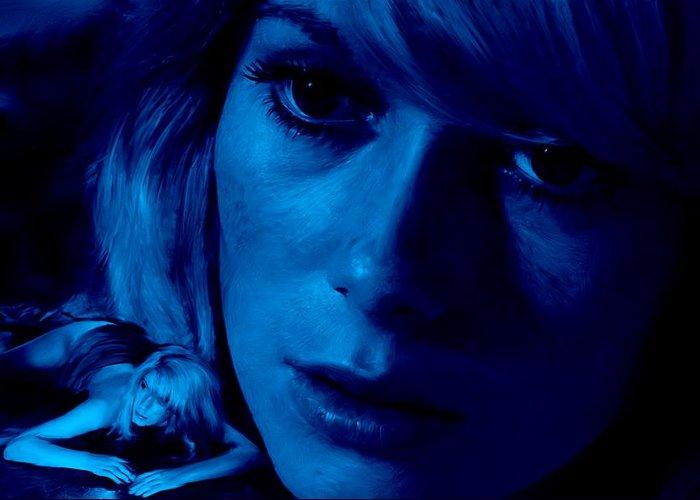Catherine Deneuve Greeting Card featuring the digital art Catherine Deneuve in the film Repulsion by Gabriel T Toro