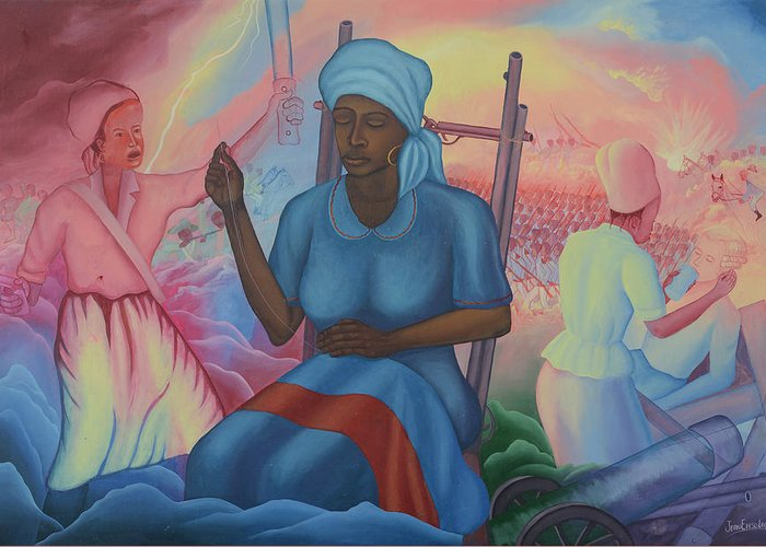 Freedom Ladies Greeting Card featuring the painting Catherine Flon by Jean E Laurent