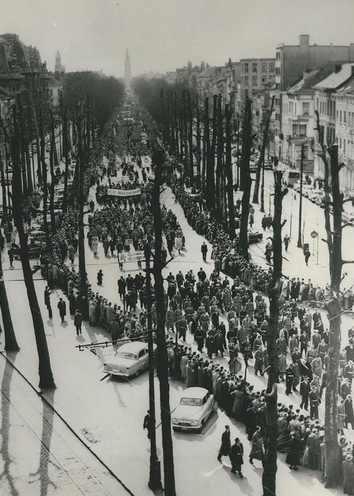 retro Images Archive Greeting Card featuring the photograph Catholics March In Antwerp.. Parade Ends Two Weeks Easter by Retro Images Archive
