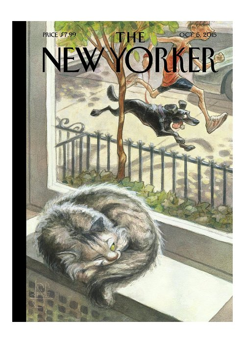 Cat Greeting Card featuring the painting Catnap by Peter de Seve