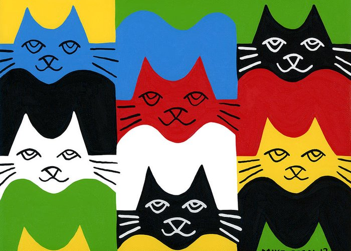 Cat Greeting Card featuring the painting Cats by Mike Segal