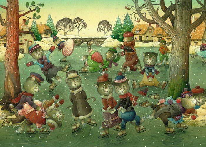 Christmas Greeting Cards Ise Skating Cat Holiday Greeting Card featuring the painting Cats On Skates by Kestutis Kasparavicius