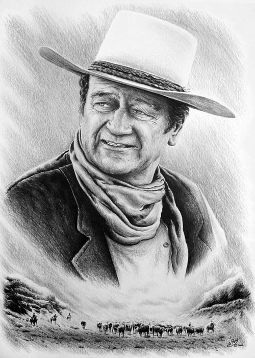 John Wayne Greeting Card featuring the drawing Cattle Drive Bw Version by Andrew Read