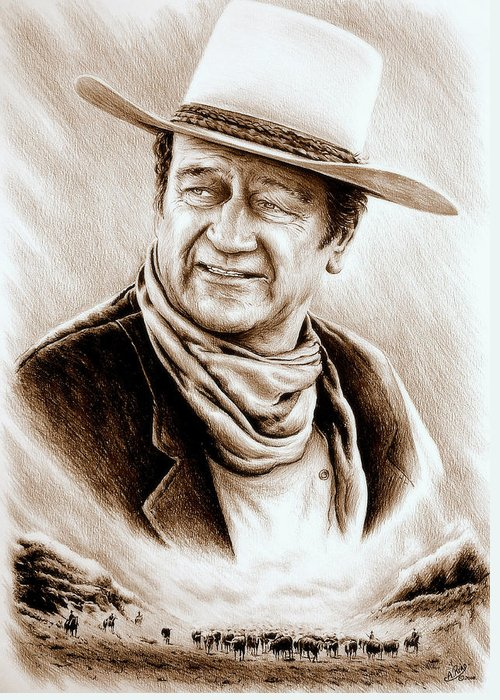 John Wayne Greeting Card featuring the drawing Cattle Drive Sepia Soft by Andrew Read