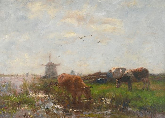 Cows; Cow; Cattle; Meadow; Windmill; Drinking; Netherlands; Holland; Animals; Grazing; Rural Greeting Card featuring the painting Cattle Grazing by Willem Maris